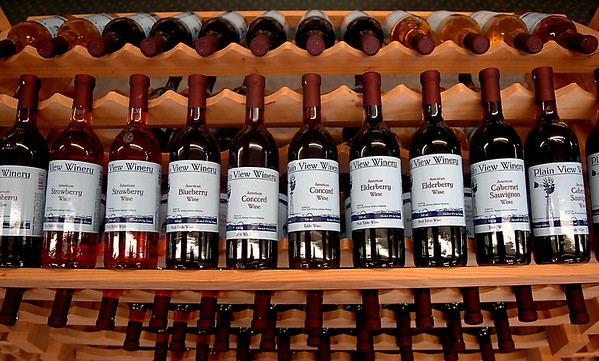 Rack of wine at Plain View Winery in Lahoma. (Staff Photo by BILLY HEFTON)