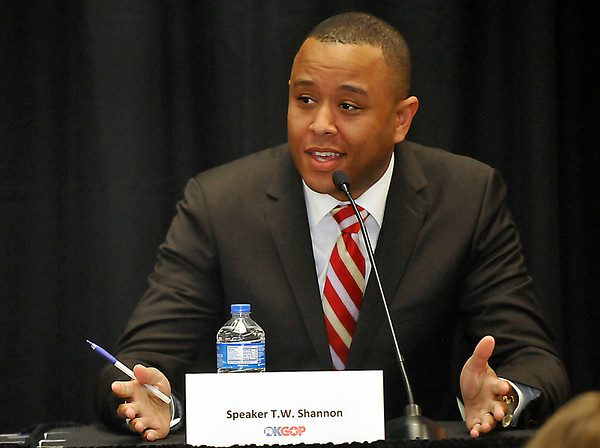 Oklahoma Speaker, T.W. Shannon, answers a question during a GOP debate Friday at NWOSU Enid. (Staff Photo by BILLY HEFTON)