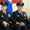 Col. Darren V. James and Col. Clark J. Quinn (from left) listen to Gen. Robin Rand's presentation at the 71st Flying Training Wing change of command Wednesday, June 18, 2014. (Staff Photo by BONNIE VCULEK)