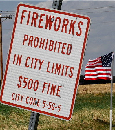 Sign on west Willow informing citizens that fireworks are prohibited in the city limits of Enid. (Billy Hefton / Enid News & Eagle)