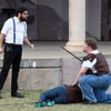 "Ben Ezell (left) and Matthew Houston rehearse for the Shakespeare in the Park production of ""Titus Andronicus"" Tuesday June 20, 2017 at Government Springs Park. (Billy Hefton / Enid News & Eagle)"