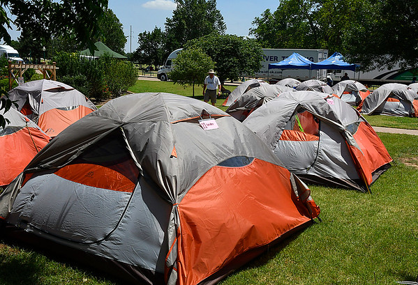 Tents set up at Government Springs Park Thursday June 15, 2017. Scarborough for cyclist taking part in Ok Freewheel who spent the night in Enid. (Billy Hefton / Enid News & Eagle)