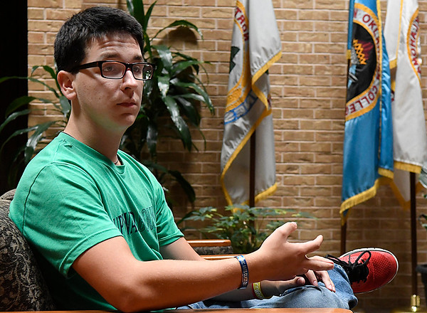 Kyle Dempsey talks about his experiences attending the Upward Bound Summer Academy during an interview Thursday June 29, 2017. (Billy Hefton / Enid News & Eagle)