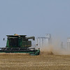 A combine harvest a field south of Kremlin Wednesday June 14, 2017. (Billy Hefton / Enid News & Eagle)
