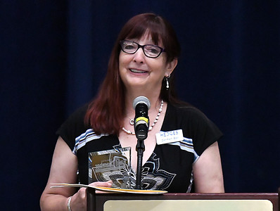 Carmen Ball after being named the Greater Enid Chamber of Commerce Volunteer of the Year during an annual meeting and banquet Tuesday June 12, 2018 at the Central National Bank Center. (Billy Hefton / Enid News & Eagle)