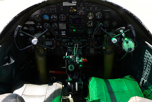 """Cockpit of the B-25 Mitchell Bomber """"Maid in the Shade"""" at Woodring Airport Monday June 11, 2018. The plane flew 15 bombing missions during World War II. (Billy Hefton / Enid News & Eagle)"""