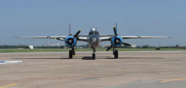 "The B-25 Mitchell Bomber ""Maid in the Shade"" taxis on the tarmac at Woodring Airport Monday June 11, 2018. The plane flew 15 bombing missions during World War II. (Billy Hefton / Enid News & Eagle)"