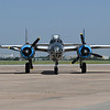"""The B-25 Mitchell Bomber """"Maid in the Shade"""" taxis on the tarmac at Woodring Airport Monday June 11, 2018. The plane flew 15 bombing missions during World War II. (Billy Hefton / Enid News & Eagle)"""