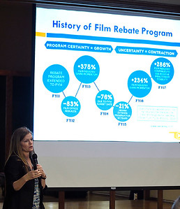 Tava Maloy Sofsky, director of the Oklahoma Film & Music department, talks to the Noon Rotary Club Monday June 18, 2018. (Billy Hefton / Enid News & Eagle)