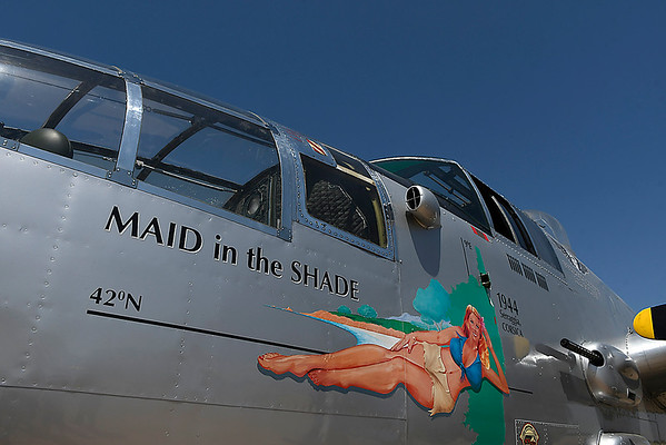 """The B-25 Mitchell Bomber """"Maid in the Shade"""" at Woodring Airport Monday June 11, 2018. The plane flew 15 bombing missions during World War II. (Billy Hefton / Enid News & Eagle)"""