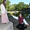 Shelby Ochs and Caleb Curby of the Gaslight Theatre's Shakespeare in the Park production of Romeo and Juliet Wednesday June 20, 2018 at Government Springs Park. (Billy Hefton / Enid News & Eagle)