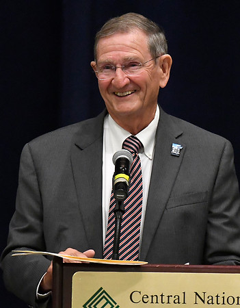 Enid mayor, Bill Shewey, after being named the Greater Enid Chamber of Commerce Citizen of the Year during an annual meeting and banquet Tuesday June 12, 2018 at the Central National Bank Center. (Billy Hefton / Enid News & Eagle)