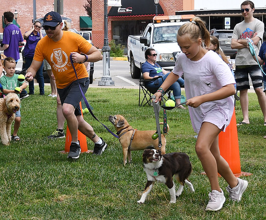 Quinn DeLaCruz with her dog Luna races Justin Blasier and his dog Josie at the Downtown Dogfest Saturday, June 15, 2019, on the Garfield County Courthouse lawn. (Billy Hefton / Enid News & Eagle)