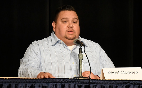 Garfield County Sheriff candidate, Dariel Momsen, answers a question a forum Tuesday, June 23, 2020 at the Stride Bank Center. (Billy Hefton / Enid News & Eagle)