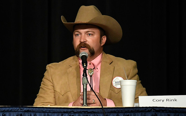 Garfield County Sheriff candidate, Cory Rink, answers a question a forum Tuesday, June 23, 2020 at the Stride Bank Center. (Billy Hefton / Enid News & Eagle)