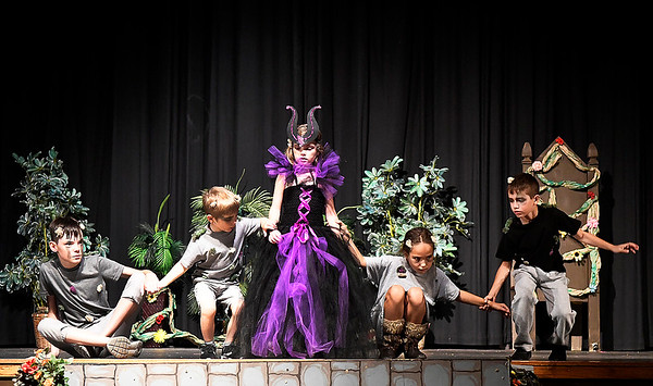 "Cast members rehearse a scene in the Gaslight Theatre Drama Camp's production of ""Sleeping Beauty"" Thursday, June 25, 2020. (Billy Hefton / Enid News & Eagle)"