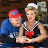 Rex Campbell dances with Jeannice Manning during his 99th birthday celebration Thursday,  June 17, 2021 at Greenbrier Village. (Billy Hefton / Enid News & Eagle)