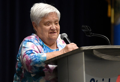 Janet Cordell addresses the audience after being named the Citizen of the Year during the Greater Enid Chamber of Commerce annual meeting and banquet Tuesday, June 15, 2021 at the Stride Bank Center. (Billy Hefton / Enid News & Eagle)