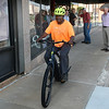 Abe Davenport takes his new electric assist bike for his first ride outside of the Bike Shop Wednesday, June 24, 2021. (Billy Hefton / Enid News & Eagle)