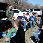 Lt. Col. Andy Hamann and Brent Price visit with Emerson Middle School students during the Boys Tailgate at Northern Oklahoma College-Enid Wednesday, March 13, 2013. Hope Outreach Parenting M ...