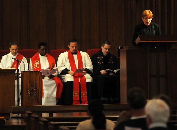 (from left) Deacon Tony Crispo, Rev. Rajesh Mankena, Rev. Joseph Irwin, Rev. Andrew Long and Rev. Susan Southall (Staff Photo by BONNIE VCULEK)