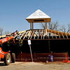 Construction crews continue work on the building for the Kiwanis carousel at Meadowlake Park. (Staff Photo by BILLY HEFTON)