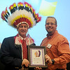 Kent Clingenpeel (left), National AMBUCS President, and Eli Berry, Enid Noon AMBUCS President (Staff Photo by BONNIE VCULEK)