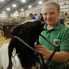Abbi John smiles as her boer goat, Buster, tries to give her a kiss during the Northwest District Junior Livestock Show at the Chisholm Trail Expo Center Thursday, March 7, 2013. John, a fifth-grade student in the Chisholm 4-H Club, was preparing her 81 lb. wether for the show ring. (Staff Photo by BONNIE VCULEK)
