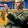 2nd Lt. Kayla Bowers describes the differences between flying a T-6 and T-38 aircraft during an interview at the Vance Air Force Base 25th Flying Training Squadron building Wednesday, March 27, 2013. Bowers is part of Class 13-13. (Staff Photo by BONNIE VCULEK)