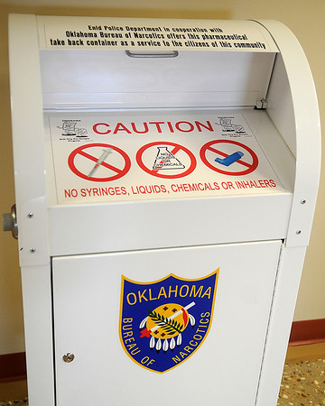 The Enid Police Department and Garfield County Sheriff Department in cooperation with the Oklahoma Bureau of Narcotics offers a pharmaceutical take back container as a service to the citizens of Enid. (Staff Photo by BONNIE VCULEK)