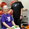 Kendra Heltfeld stands next to her grandmother, Mildred Johnson, at the Denny Price Family YMCA. (Staff Photo by BILLY HEFTON)