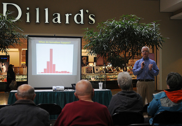 Rick Smith, a warning coordination meteorologist for the National Weather Service in Norman, speaks about weather safety during the second annual Weather and Disaster Preparedness Day at Oakwood Mall Saturday, March 23, 2013. (Staff Photo by BONNIE VCULEK)