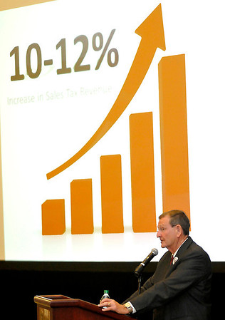 Enid mayor, Bill Shewey, delivers his State of the City address Monday at Convention Hall. (Staff Photo by BILLY HEFTON)