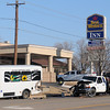 The Enid Police Department investigates an accident scene involving an Enid Transit vehicle and a Ford F-350 truck near the entrance of Best Western, 2818 S. Van Buren, Wednesday, March 20, 2013. Enid Police were assisted by the Enid Fire Department and Life EMS. (Staff Photo by BONNIE VCULEK)