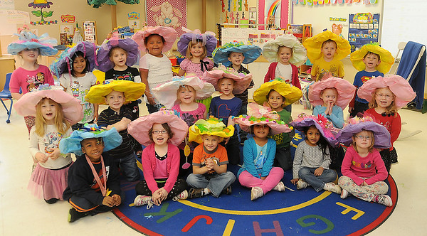 Taft Elementary School Pre-Kindergarten students don their Easter hats as they pause for a portrait in Mrs. Nancy Killam's classroom Thursday, March 28, 2013. The students paraded the hallways of their school before their annual Easter egg hunt. (Staff Photo by BONNIE VCULEK)