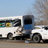 An Enid Public Transportation Authority Enid Transit and an F-350 Truck collided near Best Western at 2818 S. Van Buren Wednesday, March 20, 2013. The Enid Police Department, Enid Fire Department and Life EMS responded to the scene. (Staff Photo by BONNIE VCULEK)