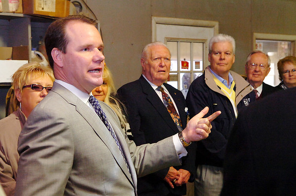 Oklahoma Lt. Governor Todd Lamb gestures as he thanks new owner of Enid Iron & metal, John Boone, during a ribbon cutting ceremony Monday. (Staff Photo by BILLY HEFTON)