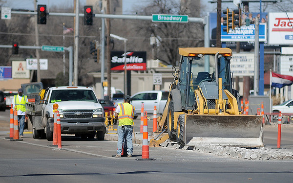 Road work continues at the intersection of W. Maine and Van Buren Tuesday, March 11, 2014. (Staff Photo by BONNIE VCULEK)