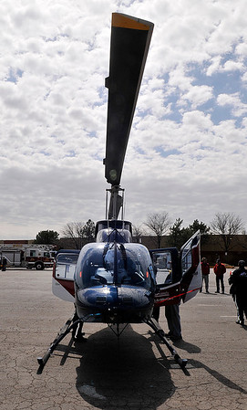 The Air Evac Lifeteam helicopter during the Garfield County Emergency Management's Weather and Disaster Preparedness Day at Oakwood Mall Saturday. (Staff Photo by BILLY HEFTON)