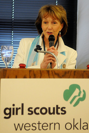 "Ann Hargis, the First Lady of Oklahoma State University, speaks about being ""A Champion for Girl Scouts"" during the Juliette Low Leadership Society's 8th annual luncheon at the Hiland Tower Grand Ballroom Thursday, March 6, 2014. (Staff Photo by BONNIE VCULEK)"