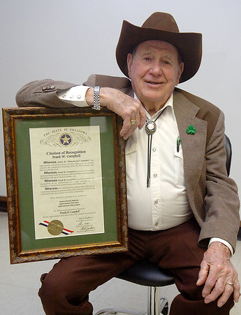 "Frank ""Watermelon"" Campbell with his Citation of Recognition from the State of Oklahoma. (Staff Photo by BILLY HEFTON)"