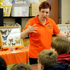 Andrine Shufran, Insect Adventure Coordinator from the Oklahoma State University Dept. of Entomology and Plant Pathology in Stillwater, visits with Waller Middle School students Tuesday, March 11, 2014. (Staff Photo by BONNIE VCULEK)