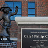 A statue of Sparky has been placed on the Convention Center Plaza in memory of Enid Fire Chief Phillip Clover. (Staff Photo by BILLY HEFTON)