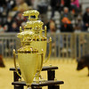 FFA and 4-H club members vie for the champion and reserve champion swine trophies during the 80th annual Northwest District Junior Livestock Show at the Chisholm Trail Expo Center Saturday, March 8, 2014. (Staff Photo by BONNIE VCULEK)