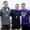 Michael Bartel, David Kriner and Ryan Reasor (from left) placed first, second and third respectively during the 5K run at the 7th annual Warren Edds Memorial Civitan Chiller Challenge Saturday, March 1, 2014. (Staff Photo by BONNIE VCULEK)