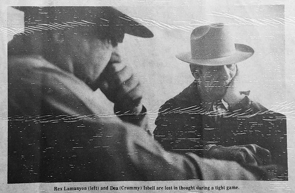 Photo from a 1977 article in the News & Eagle about the annual domino tournament in Waukomis. (Billy Hefton / Enid News & Eagle)