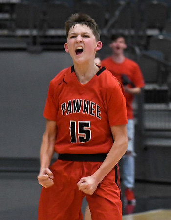 Pawnee's Gunnar Gordon lets out a yell after scoring a basket against Pioneer during the Area 1 tournament at Stride Bank Center Thursday, March 5, 2020. (Billy Hefton / Enid News & Eagle)