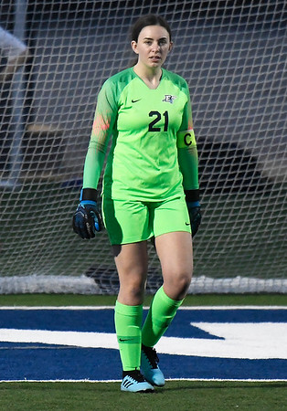 Enid's Gabriella Cotarelo in goal against Midwest City March 3, 2020 at D. Bruce Selby Stadium. (Billy Hefton / Enid News & Eagle)