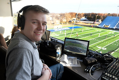 EPS TV student broadcaster, Hayden Fuller, prior to the Enid v Midwest City soccer game Tuesday march 3, 2020 at D. Bruce Selby Stadium. (Billy Hefton / Enid News & Eagle)