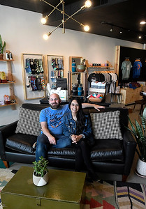 Riley and Stela Jantzen sit the new location of their store Felt Bird Thursday, March 12, 2020. (Billy Hefton / Enid News & Eagle)